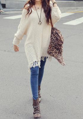 Apricot Fringe Knit Sweater