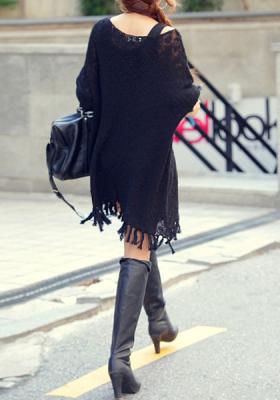 Black Fringe Knit Sweater