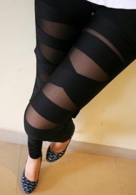 Black Cross Band Leggings