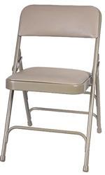 Beige Vinyl Metal Folding Chair