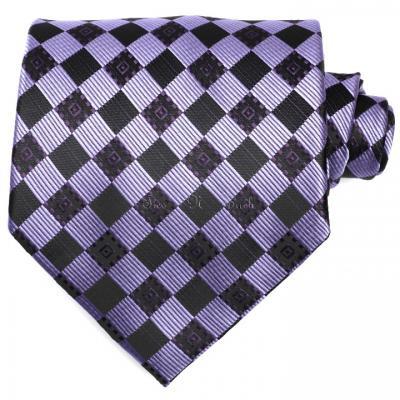 Get Lilac & Black Checkered Necktie @Just £8.99
