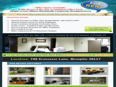 """Fully Furnished Office Space"" for rent at Central Location in Memphis, TN"