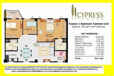 RFO 3BR w/maids room2 TB Cypress Tower C5 Taguig with Balcony