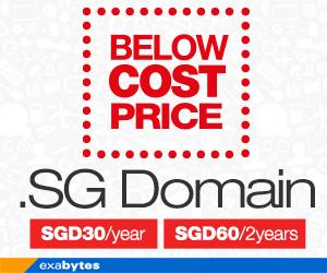Grab Your Favourite SG Domains at SGD30.00/year Only