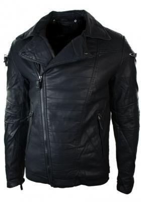 Cross Zipper Men Black Leather Jacket