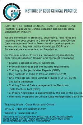 ONLINE/ CLASS ROOM  WORKSHOP  ON (`11/07/2015) CLINICAL   RESEARCH,CDM,SDTM,SAS COURSES @IGCP