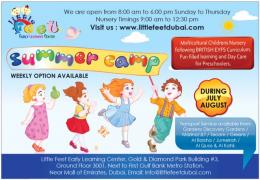 Kids Summer Camp & Nurseries near Al Khail Gate, Dubai - LITTLE FEET - 050 1515 371