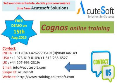 Cognos Online Training by AcuteSoft with 10+ years SMEs.