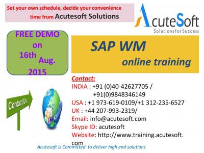 SAP WM Online Training by AcuteSoft with 10+ years SMEs.