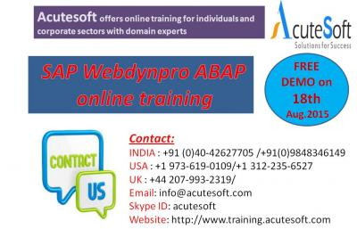 SAP Webdynpro ABAPOnline Training by AcuteSoft with 10+ years SMEs.