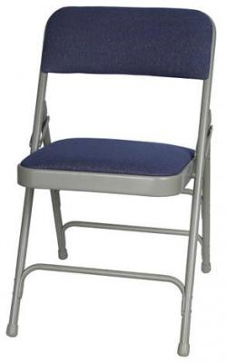 Folding Chairs Tables Larry Presenting Blue Fabric Metal Folding Chair