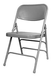 Folding-Chairs-Tables-Discount - Gray Metal Folding Chair 3 Braces