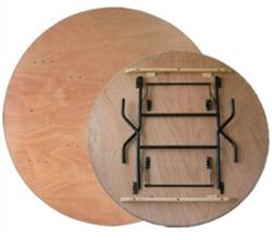 "Folding Chairs Tables Larry Presenting 60"" Round Plywood Folding Table"