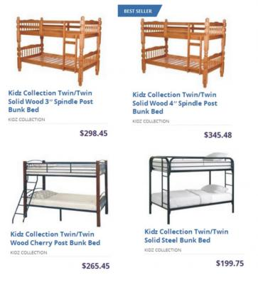 "Kidz Collection Twin/Twin Solid Wood 3"" Spindle Post Bunk Bed 