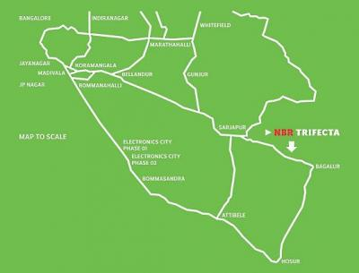 NBR Trifecta is situated on Sarjapur-Baglur Highway, near Infosys and Wipro campuses.
