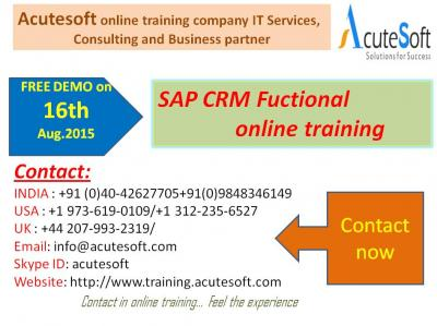 SAP CRM Functional Online Training by AcuteSoft with 10+ years SMEs.