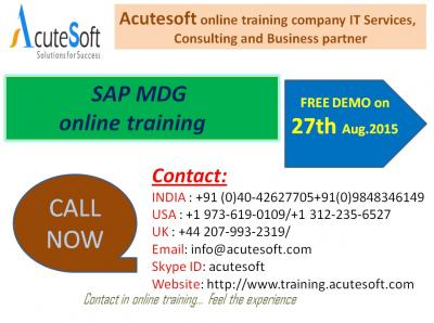 SAP MDG Online Training by AcuteSoft with 10+ years SMEs.