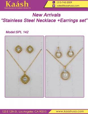 Stainless Steel Necklace Earring Set