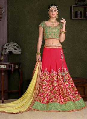 Red Embroidered Silk Ghagra Choli At Mirraw