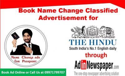 Name change advertisement in Newspaper Delhi