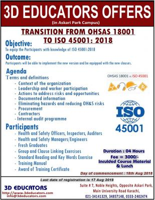 Tranition from OHSAS 18001 to ISO 45001 course