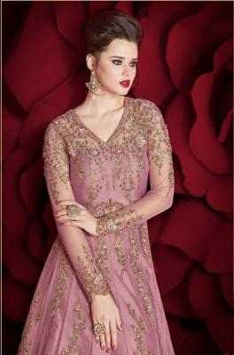 Pink Net Floor Length Anarkali Suit at TrendyBIBA.
