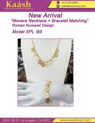 Monera Necklace And Bracelet Matching Roman Numera