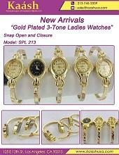 """""""Gold Plated 3-Tone Ladies Watches""""Snap Open and C"""