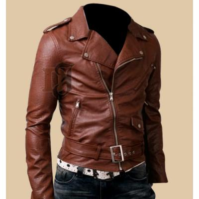 MENS BIKER BELTED BROWN RIDER LEATHER JACKET