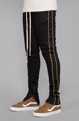 Striped Twill Track Pants with Piping (Black/Gold)