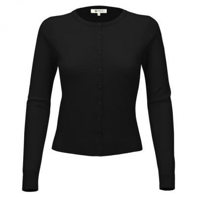 Women Long Sleeve Crewneck Button Down Casual Soft
